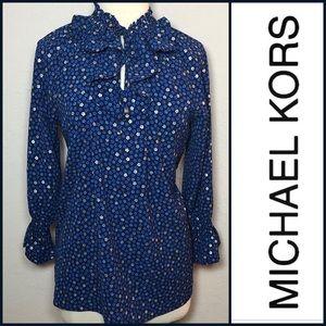 Michael Kors smocked peasant blouse L